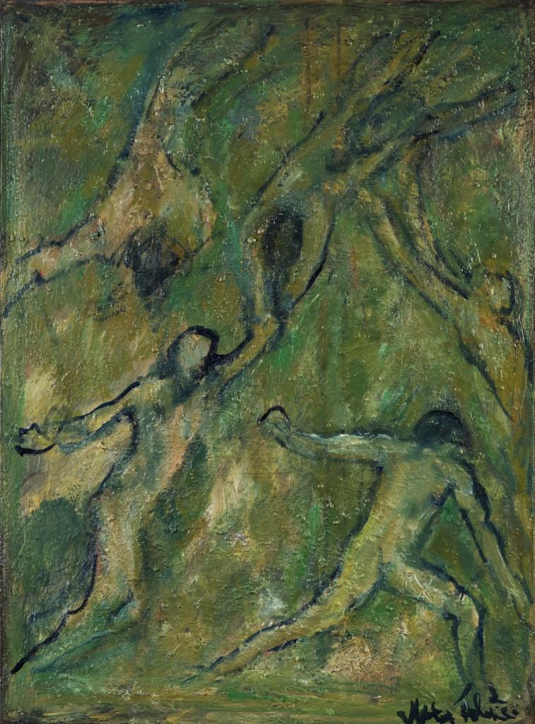 """Huile sur toile 2008 72 X 54 cm , signature au dos : """" Pressy 2009 """" et sur la face en bas à droite : Marie Hélène."""